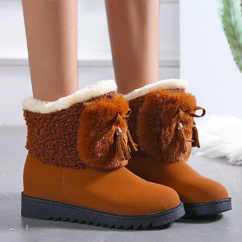Womens Winter Slip On Snow Boots Flat Heel Boots