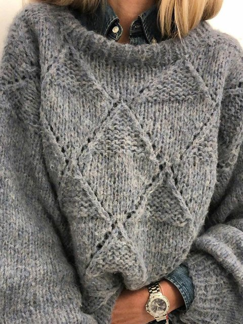 Solid Sweater Plus Size Jumper