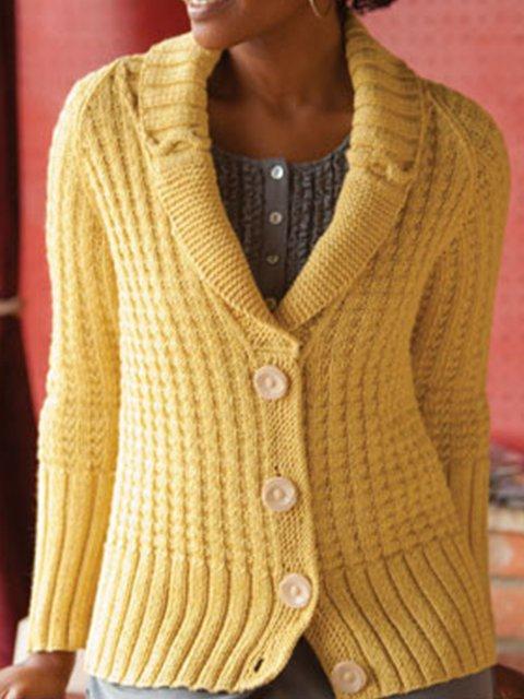 Solid Vintage Knit Cardigan Plus Size Shawl Collar Sweater
