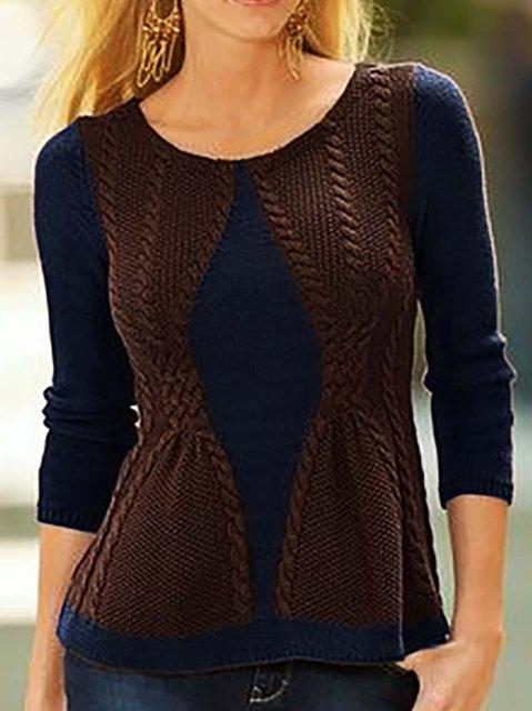 Long Sleeve Holiday Plain Crew Neck Sweater