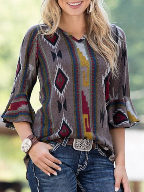 Grey Cotton-Blend Casual Long Sleeve Plus Size Shirts