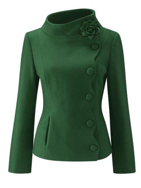 Green Turtleneck Plain Wool Blend Outerwear