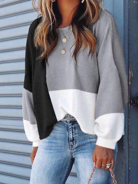 Color-block Buttoned Design Casual Sweatshirt