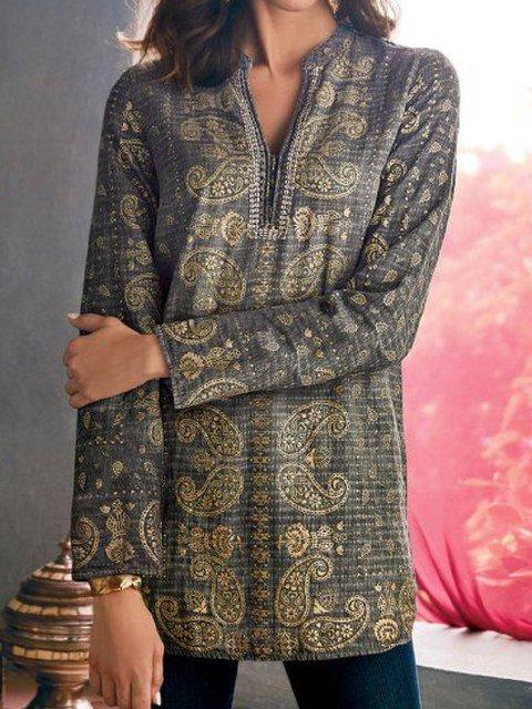 Light Khaki Long Sleeve Printed Round Neck Cotton-Blend Outerwear