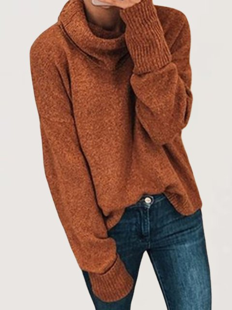 Autumn Casual Daily Basic Turtleneck Long Sleeve Knitted Sweater Top
