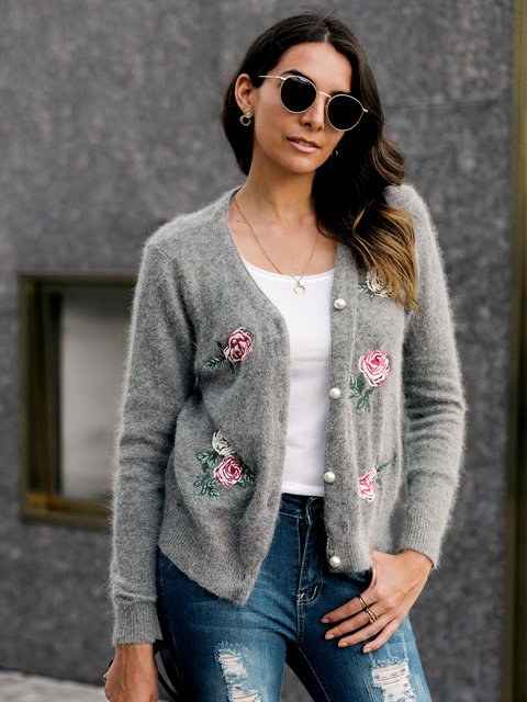 Jacquard Floral-Embroidered Long Sleeve Outerwear