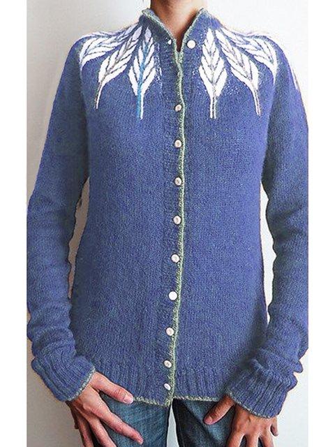 Plus Size Knit Cardigan Leaf Sweater
