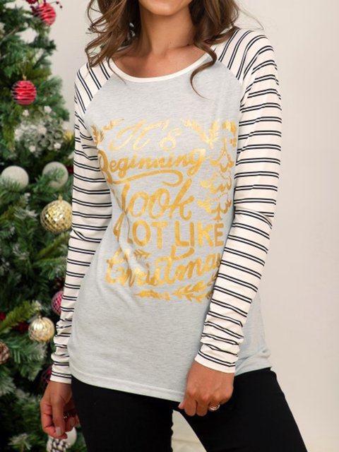 Striped stitching Christmas print long sleeve bottoming Long Sleeve Plain Cotton-Blend Crew Neck Shirts & Tops