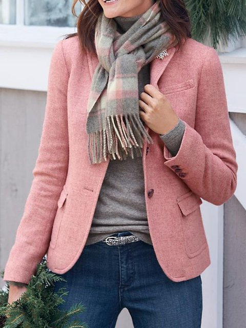 Work Pockets Solid Blazer Plus Size Coat