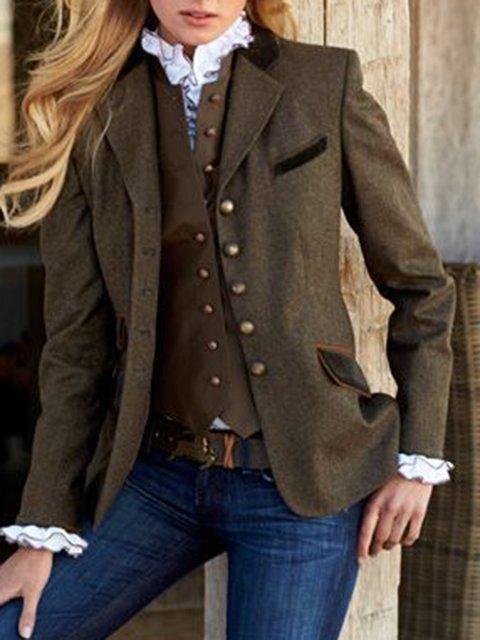 Solid Vintage Blazer Plus Size Lapel Long Coat
