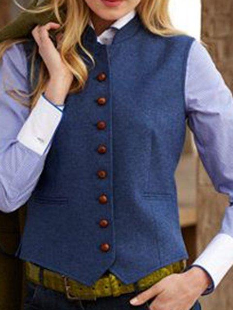 Solid Plus Size Vintage Vest