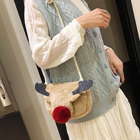 Mini Reindeer Elk Plush Bag Christmas Crossbody Bag