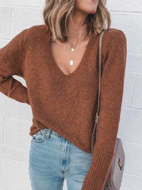 Coffee Vintage V Neck Cotton-Blend Solid Shirts & Tops