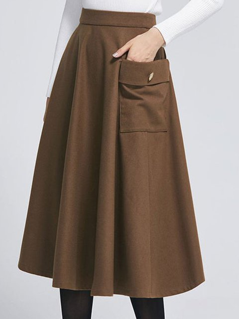 Brown Vintage Wool Blend Buttoned Skirts