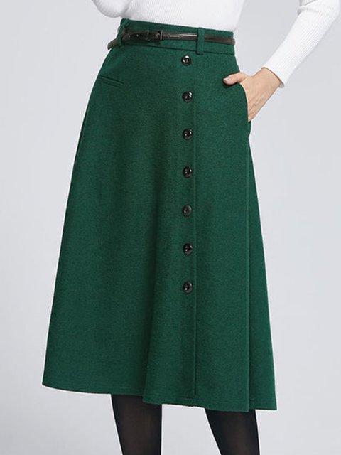 Plus Size Green Elegant Wool Blend Skirts