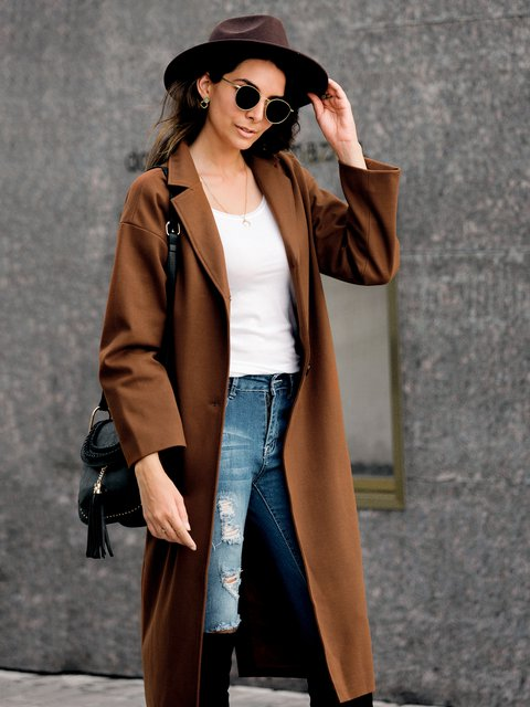 Solid Casual Buttoned Outerwear