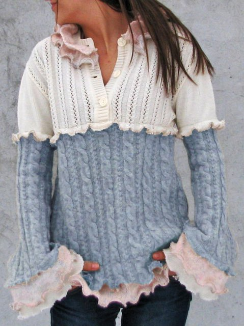 Knitted Frill Sleeve Vintage Sweater