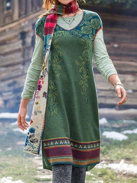 Green Cotton-Blend V Neck Floral Short Sleeve Plus Size Dresses