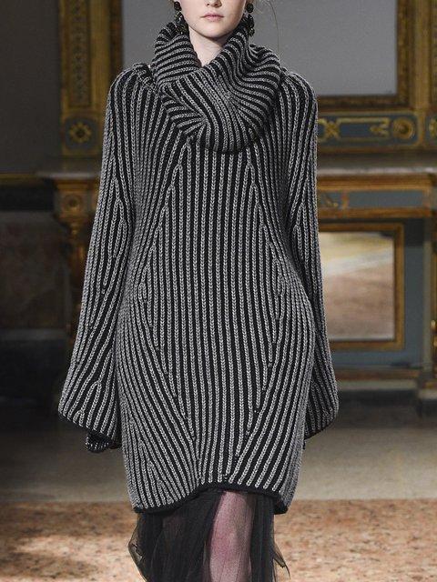 Black Cotton Long Sleeve Dresses