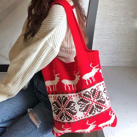 Christmas Knit Bag Jacquard Shoulder Bag