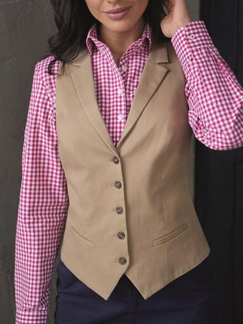 Solid Lapel Buttoned Sleeveless Suits
