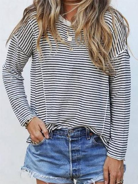 White Cotton-Blend Long Sleeve Round Neck Shirts & Tops