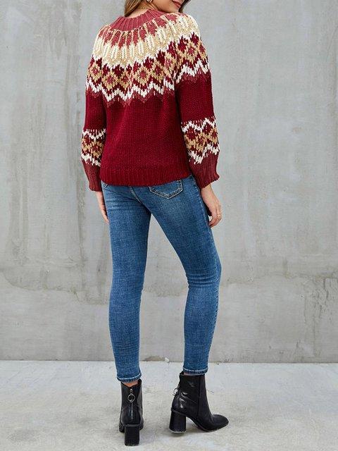 Burgundy Tribal Casual Long Sleeve Sweater