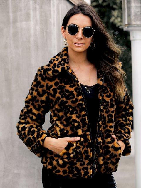 Brown-Leopard Print Teddybear Outerwear