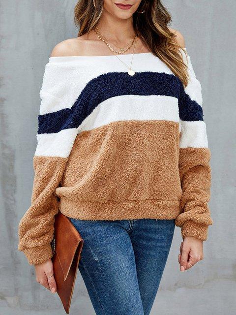 Khaki Striped Shift Casual Sweatshirt