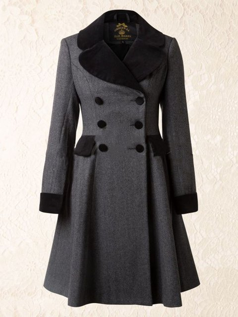 Women Double-breasted Vintage Dress Coats