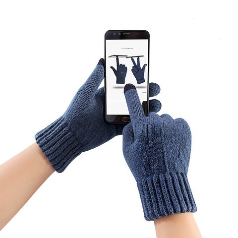 Unisex Touch Screen Thick Warm Knited Gloves