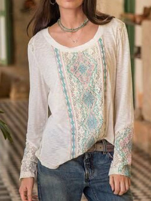 White Long Sleeve Cotton-Blend Shirts & Tops