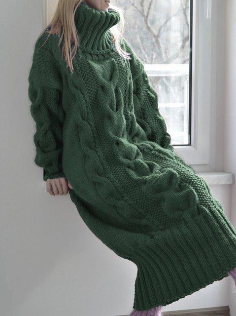 Turtleneck Shift Daily Vintage Plain Dresses