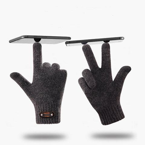 Unisex Knitted Touch Screen Thick Warm Gloves