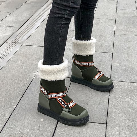 Womens Flanging Artificial Suede Slip-On Snow Boots