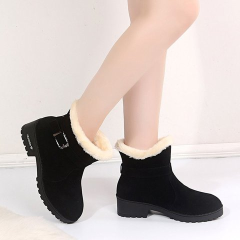 Black Adjustable Buckle Artificial Leather Winter Snow Boots