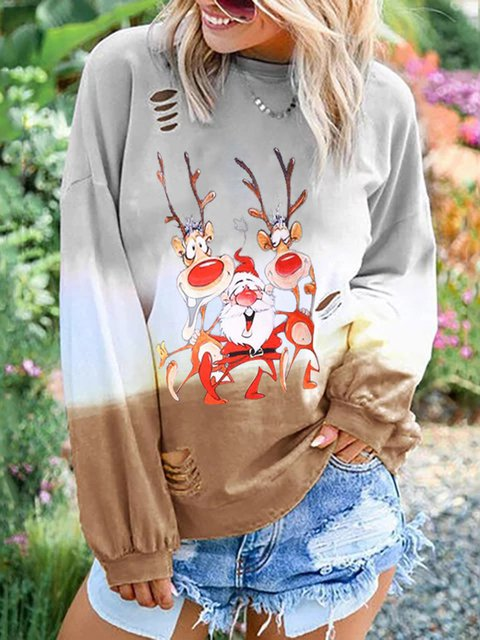 Christmas Casual Long Sleeve Tops