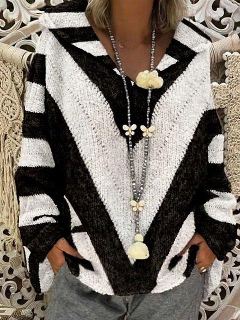 Hoodie Long Sleeve Color-Block Casual Sweater
