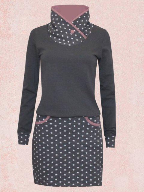Gray Casual Long Sleeve Paneled Dresses