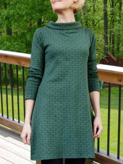 Green Long Sleeve Cotton-Blend Geometric Crew Neck Dresses
