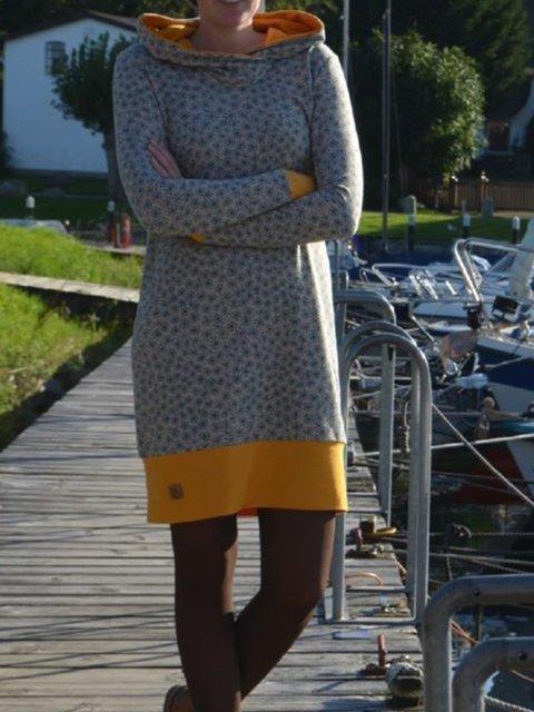 Printed Long Sleeve Hoodie Dresses