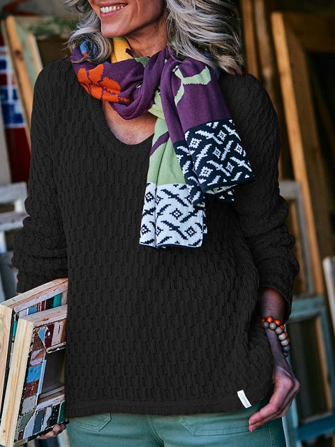 Solid Sweater Plus Size Knit Jumper
