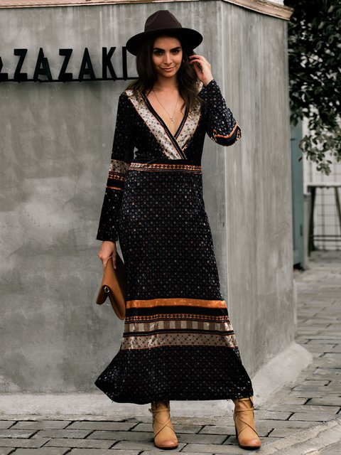 Long Sleeve V Neck Tribal Dresses