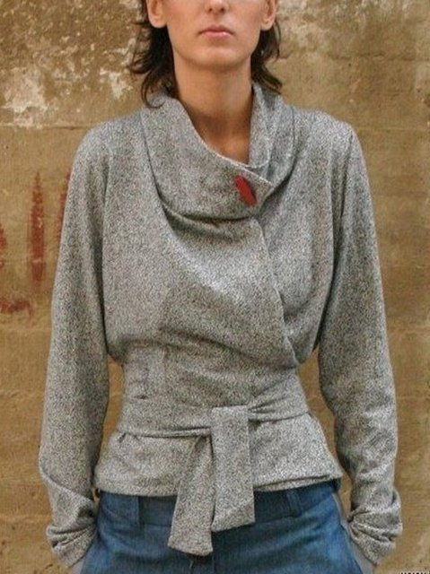 Gray Casual Cotton-Blend Shirts & Tops