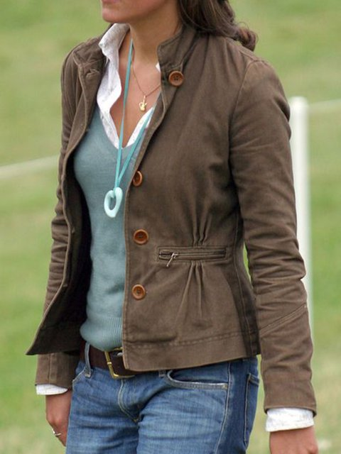 Women Pockets Buttoned Vintage Jackets