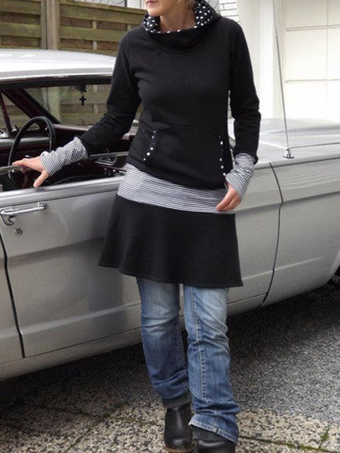 Long Sleeve A-Line Stripes Hoodie Dresses