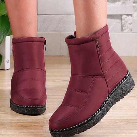Women's Zipper Flat Heel Cotton Casual Snow Boots