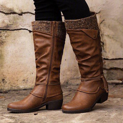 Women Vintage Zipper Low Heel Daily Pu Boots