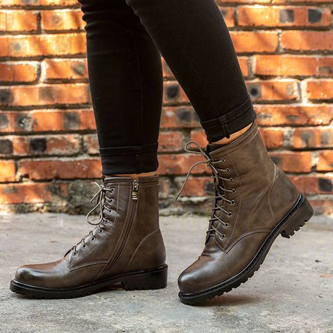 Women Vintage  Fall Lace-Up Boots