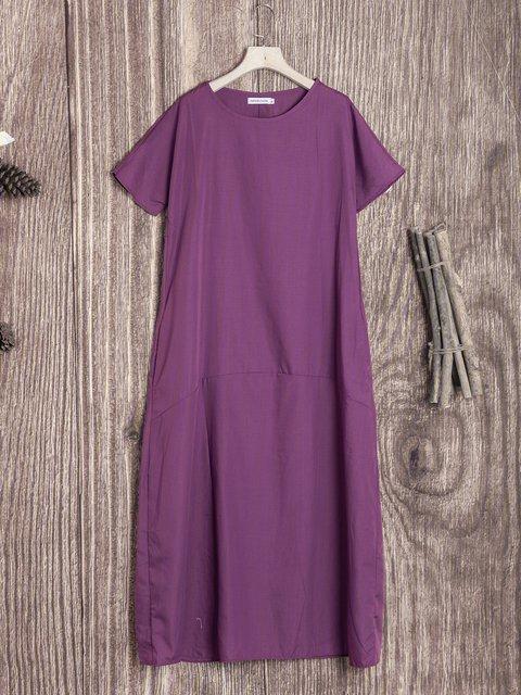 Shift Women Short Sleeve Cotton Paneled Solid Casual Dress
